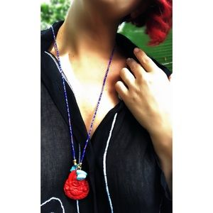 Handcrafted Beaded Red Buddha Pendant Necklace 🌿
